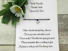 Breathe Smile You Got This! Wish Bracelet Anxiety Gift Card Heart Charm Anklet