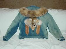 Womens Unique Coyote Distressed Boho Denim Fur Leather Western Festival Jacket L