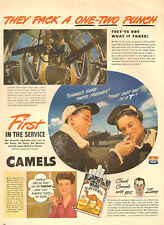 1944 WW 2 Tobacco AD CAMEL Cigarettes B-17 Air Crews, Waist Gunner Action 090617