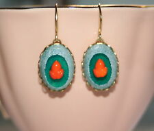 Vintage RARE Green frosted orange acorn glass artisan whimsical earrings