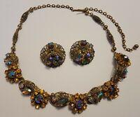 Vintage Signed Western Germany Filigree Rhinestone Necklace Set