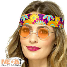 Orange Hippie Specs Adults Fancy Dress 70s Hippy Lenon Celebrity Costume Glasses