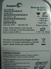 """Seagate 80GB SATA 3.5"""" ST3808110AS - F/W 3.AAE - Date 06441 -P/N 98D131-188"""