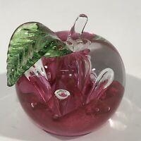 Caithness Scotland Art Glass Windfall Figural Apple Paperweight Signed & Numberd