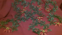 """9pc vtg 7"""" plastic Holly poinsettia candle wreaths mid-century winter decor COOL"""