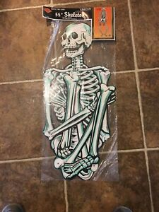 """1 NEW-55"""" TALL BEISTLE VINTAGE STYLE HALLOWEEN SKELETON ☠ 2-SIDED JOINTED DIECUT"""