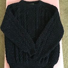 Cladyknit Donegal Handcraft Men's Navy Wool Fisherman Sweater Size Large L