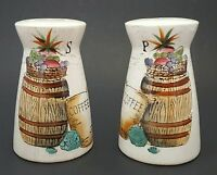 "Nasco Del Coronado Salt and Pepper Shakers Japan Ceramic 4"" Barrels Vegetables"