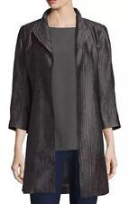 LARGE Eileen Fisher Bark Silk Groove High Collar Funnel Neck Jacket Coat