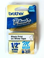 """Brother P-Touch M tape M-231 1/2"""" width Black Print on White Tape"""