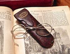 Antique O. B. Kleine Wire Silver Tone Eyeglasses Original Hard Leather Case