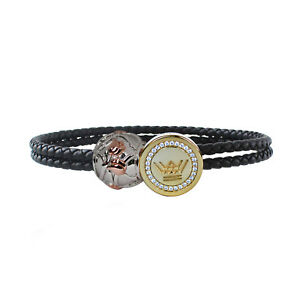 Leather Charm Bracelet Women Sterling Silver Gold Clasp Roses Bead Jewelry