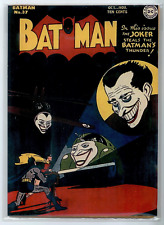 Batman #37 (1946) COVERLESS with COLOR COPY of front cover  Golden-Age JOKER