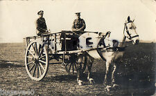 WW1 soldiers seated in Dog Cart pulled by horse in harness Horse Drawn Transport