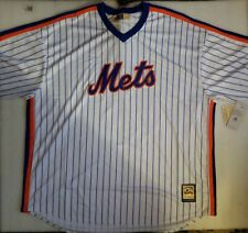NWT New York Mets Cooperstown Collection White Pinstripe Majestic Jersey Men 5XT
