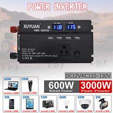3000W Car Solar Power Inverter DC12V To AC110V Modified Sine Wave Converter USB