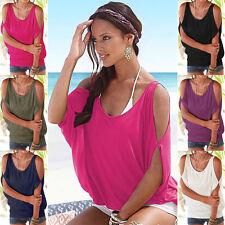 Damen Sommer Bluse Schulterfrei Freizeit Lose Shirt Tunika Oberteil Hemd Tops 44