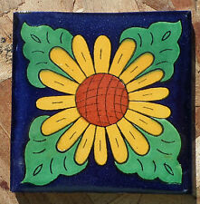 "10~Talavera Mexican 4"" tile pottery Sunflower Cobalt Blue yellow petals green"