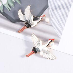 1PC Perlen Kraniche Emaille Pin Vintage Vogel Charme Broschen Frauen Luxus ScBPA