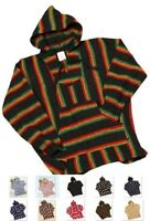 Mexican Baja Hoodie Ponchos - Woven Mexican Hooded Sweater - Surfer Drug Rug-NWT