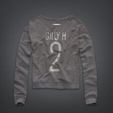 GILLY HICKS GREY DIAMANTE BLING LOGO SWEATSHIRT TOP XS 8 4 36!