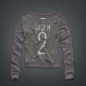 GILLY HICKS HOLLISTER GREY DIAMANTE GEM Y2K LOGO SWEATSHIRT TOP XS 8 4 36
