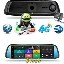 "8"" HD Android 4G WIFI GPS Rear View Mirror Dash Video Recorder Car DVR Dual Lens"