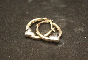 100% Genuine 9k Solid Yellow Gold Hollow Love Heart Hoop Earrings
