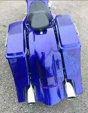 "09-13 Dual Exhaust 6"" Slope Saddlebags Lids Rear Overlay Fender Harley Flh"