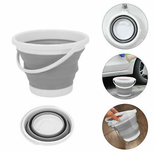 10L COLLAPSIBLE CLEANING BUCKET FOLDABLE SILICONE FOLDING WATER CARRIER GREY