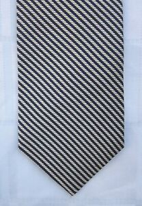 "FACONNABLE SILK TWILL TIE DIAGONAL STRIPE Handmade in FRANCE 58 ½"" Façonnable"