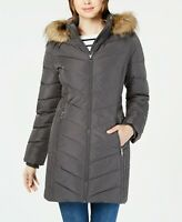 Tommy Hilfiger Chevron Faux-Fur Trim Hooded Puffer Coat $245 Size M # 18A 57 NEW