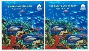 Australia 2018 The Great Barrier Reef 2 Sheets Perf & Imperf For Stamp Expo MUH