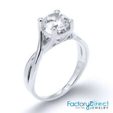 Women's 10K or 14K White Gold Infinity Band Round Solitaire CZ Engagement Ring
