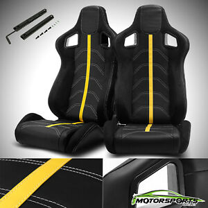 Black/Yellow Reclinable PVC Main And Line Sport Racing Seats Slider Left/Right