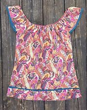 Sweet Pea by Stacy Frati Mesh Floral Paisley Top Cap Sleeves Off Shoulders Small