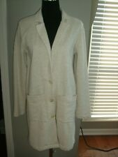 Synergy Organic Clothing Cotton Long Beige Cardigan, Size S, New without tags