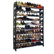 Shoe Rack 10 Tier 50 Pair Shelf Closet Organizer Storage Free Standing Home