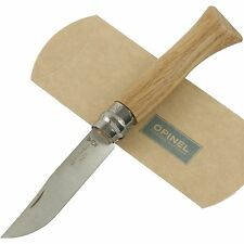 """OPINEL No. 6 Oak Wood Handle Knife Lock New France Safety Lock Ring 00981 3 5/8"""""""