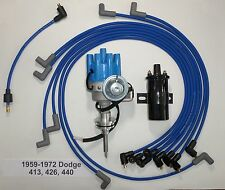 DODGE 440 59-72 BLUE Small Female HEI Distributor +Black Coil +Spark Plug Wires