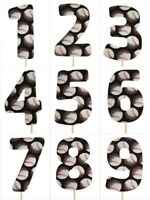 "BASEBALL Print Design Birthday NUMBER Cake Topper 5.5"" Tall Choose Number"