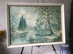 Vintage Print Autumn In The Forest Signed And Framed