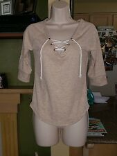 Womens RUI 21 Beige 3/4 Length Sleeve With Front Tie-Size M-Worn 1x