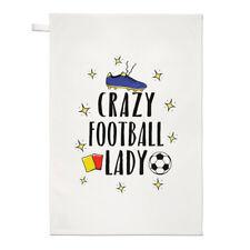 Crazy Football Lady Tea Towel Dish Cloth - Funny Soccer Sport
