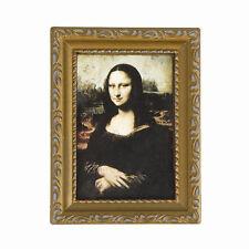 """Vintage or photo Encadree de Mona Lisa 1/12 Maison de Poupee 3.2 """"x 2.4"""" A6M6"""