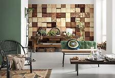 Gigante Papel pintado 368x254cm madera piezas Diseñador Dormitorio Mural Para
