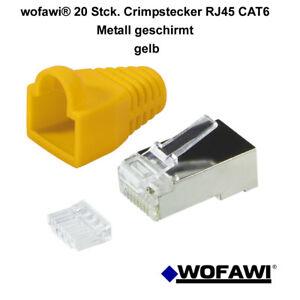 wofawi® 20 Stck Netzwerk-Stecker CAT6 Hülle,Crimp RJ45 Metall gelb