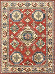 Geometric Kazak Rug, 9'x12', Red/Beige, Hand-Knotted Wool Pile