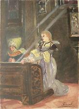 Belle AQUARELLE Ancienne Scène Religieuse Jeune Femme Prière Église XIXe Fleisch