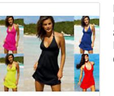 Sexy Womens Blue Sleeveless Halterneck Summer Beach Dress,One Size 8.10.12.14